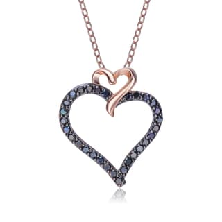 Collette Z Rose-plated Sterling Silver Black Cubic Zirconia Double Heart Necklace