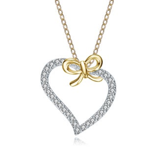 Collette Z Gold-plated Sterling Silver Cubic Zirconia Heart and Bowtie Necklace