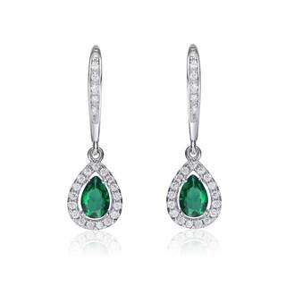 Collette Z Sterling Silver Green Cubic Zirconia Pear-shape Dangling Earrings