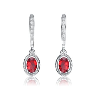 Collette Z Sterling Silver Red Cubic Zirconia Oval Dangling Earrings