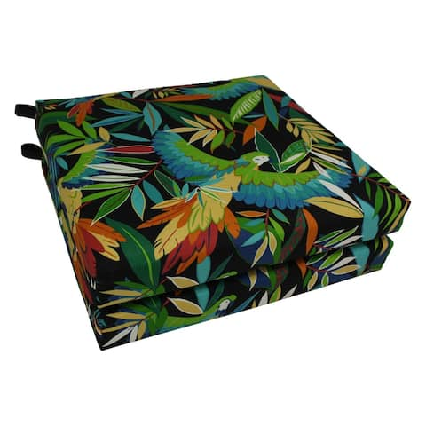 """Blazing Needles 20-inch All-Weather Outdoor Chair Cushion (Set of 2) - 19"""" x 19"""""""