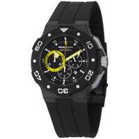 Momo Design Men's MD1004BK-03BKYW-RB 'Tempest' Black/Yellow Dial Black Rubber Strap Watch
