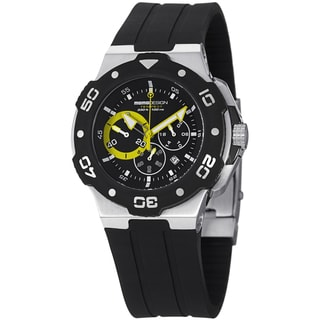 Momo Design Men's MD1004-03BKYW-RB 'Tempest' Black/Yellow Dial Rubber Strap Chronograph Watch