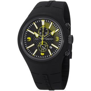 Momo Design Men's MD1009BK-05BKYW-RB 'Mirage Chrono' Black Dial Black Rubber Strap Chronograph Watch