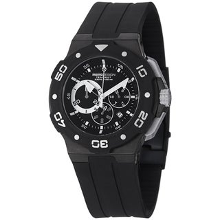 Momo Design Men's MD1004BK-02BKWT-RB 'Tempest' Black/White Dial Rubber Strap Watch