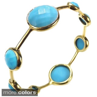 Handmade Faceted Floating Bubble Stone Gold Over Brass Bracelet (Thailand)