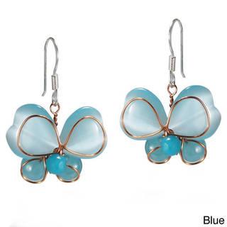 Handmade Butterfly Love Cat's Eye Heart Wings .925 Silver Earrings (Thailand)