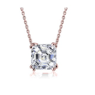 Cubic Zirconia Rose-plated Sterling Silver Asscher Cut Square Necklace
