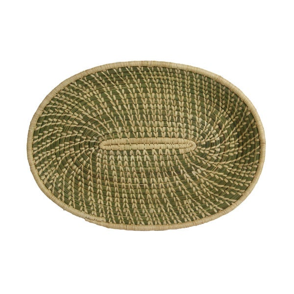 Hand-woven Cream/Green Sweetgrass and Sisal Oval Basket (Rwanda)