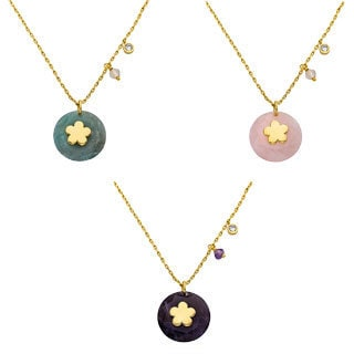 Little Miss Twin Stars 14k Goldplated Flower Center Gemstone Necklace