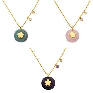 Little Miss Twin Stars Goldplated Flower Center Gemstone Necklace