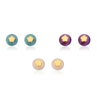 Little Miss Twin Stars 14k Goldplated Flower Center Gemstone Stud Earrings