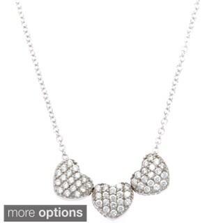 La Preciosa Sterling Silver Triple Heart Cubic Zirconia Necklace