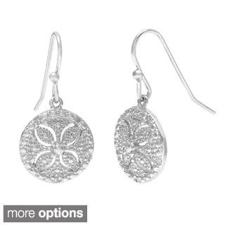 "La Preciosa Sterling Silver 1/10ct TDW ""Sand Dollar"" Diamond Dangle Earrings"