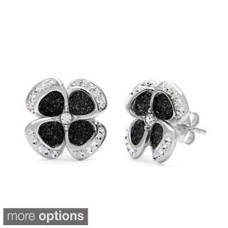 La Preciosa Sterling Silver Sparkling Crystal Flower Stud Earrings