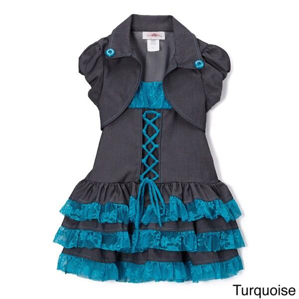 Girls (Toddler) Denim/ Lace Tiered Dress and Shrug Set