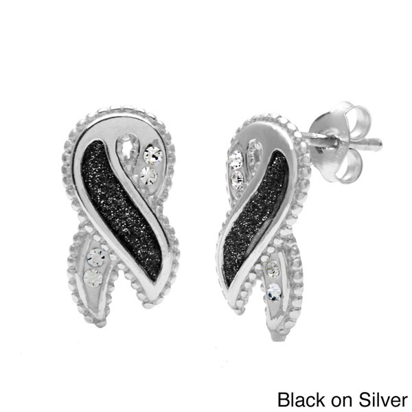 La Preciosa Sterling Silver Sparkle and Crystal Awareness Ribbon Stud Earrings