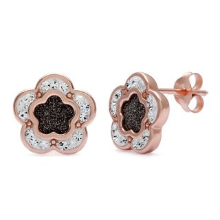 La Preciosa Rose Goldplated Sterling Silver Sparkle and Crystal Flower Stud Earrings