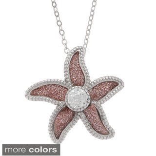 La Preciosa Sterling Silver Sparkle Crystal Flower Necklace
