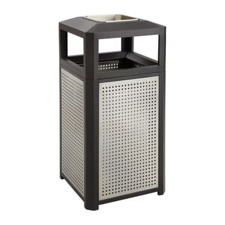 Safco Evos 38 gal. Indoor/ Outdoor Side Open Steel Waste Receptacle with Ash Urn