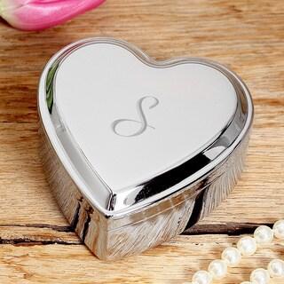 Personalized Silver Heart Keepsake Box