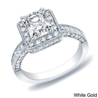 Auriya 14k Gold 2ct TDW Certified Vintage Princess-Cut  Diamond Engagement Ring