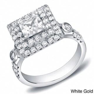 Auriya 14k Gold 2ct TDW Certified Princess-Cut Double Halo Diamond Ring