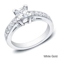 Auriya 14k Gold 1ct TDW Vintage-Inspired Princess-Cut Diamond Engagement Ring