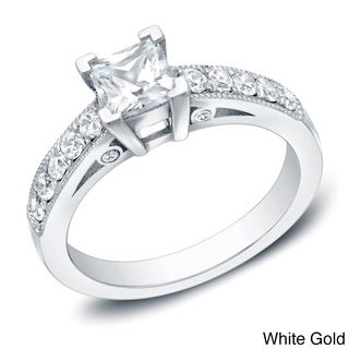 Auriya 14k Gold 1ct TDW Vintage Princess-Cut Diamond Engagement Ring