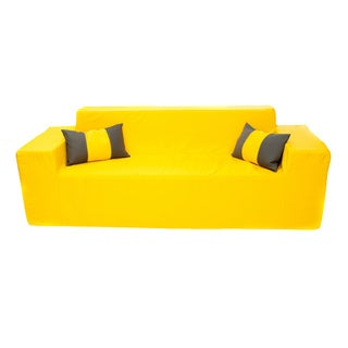 Softblock Sunshine Yellow Patio Sofa with Throw Pillows
