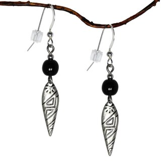 Jewelry by Dawn Black/ Antique Silvertone Patterned Dangle Earrings - Black
