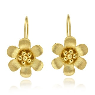 Handmade Satin Brush Summer Flower Gold Vermeil 925 Silver Earrings (Thailand)