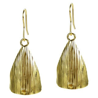 Handmade Curved Triangle Gold Vermeil Solid 925 Silver Earrings (Thailand)
