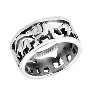 Handmade Loving Mother and Baby Elephant Parade Sterling Silver Ring (Thailand)