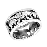 Handmade Loving Mother and Baby Elephant Parade Sterling Silver Ring