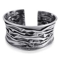 Artsy Ocean Waves Sterling Silver Handmade Cuff (Thailand)