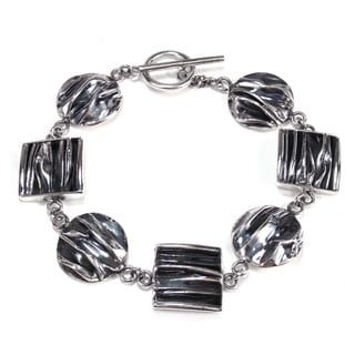 Handcrafted Geometric Shapes .925 Silver Toggle Bracelet (Thailand)