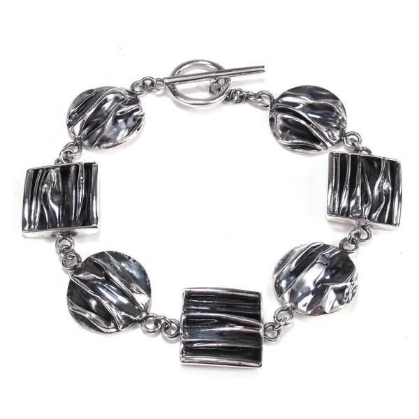 Handmade Geometric Shapes .925 Sterling Silver Toggle Bracelet (Thailand)