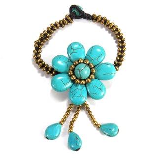 Tassel Flower Turquoise Stone Brass Beaded Bracelet (Thailand)