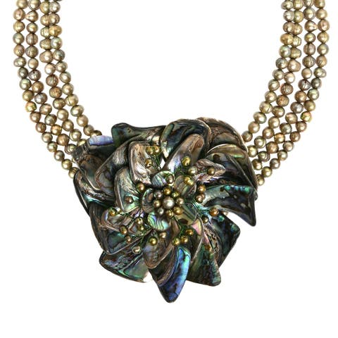 Handmade Phenomenal Abalone Water Lily Lotus Pearl Floral Necklace (Thailand)