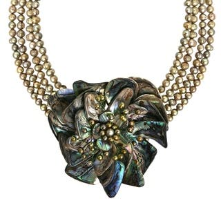 Handmade Phenomenal Abalone Water Lily Lotus Pearl Floral Necklace (Thailand)|https://ak1.ostkcdn.com/images/products/8903174/P16122584.jpg?impolicy=medium