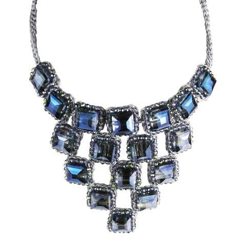 Handmade Modern Iridescent Prism Blue Crystal Ornate Geometric Necklace (Thailand)