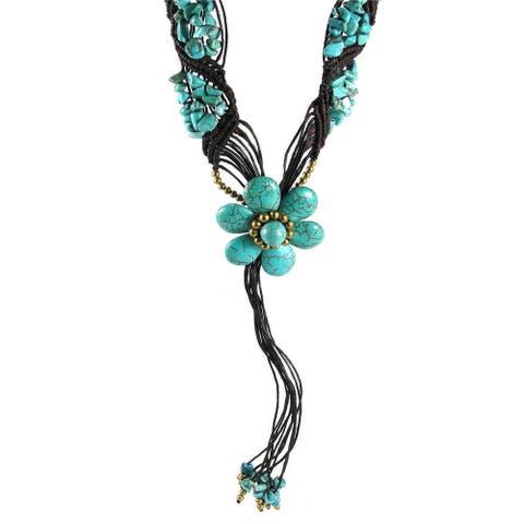 Handmade Tribal Floral Tassel Turquoise Stone Necklace (Thailand)