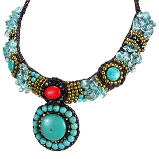 Handmade Mosaic Medallion Turquoise and Coral Dramatic Necklace (Thailand)