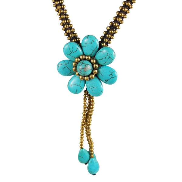 Enchanting Floral Drop Turquoise and Brass Ornate Necklace (Thailand)