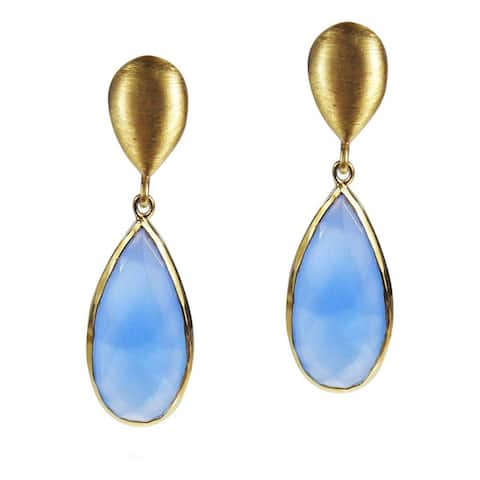 Handmade Elegant Blue Chalcedony Teardrops on Gold Plated Silver Dangle Earrings (Thailand)