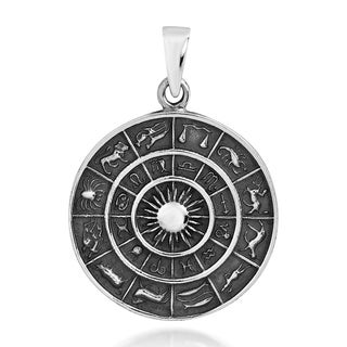Astrological Zodiac Symbols Sterling Silver Pendant (Thailand)