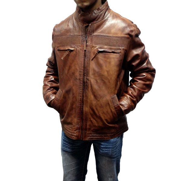 Tibor Design Men's Brown Leather Motorcycle Jacket - Free Shipping ...