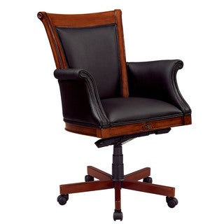 Executive Upholstered Arms and West Indies Cherry High Back Chair
