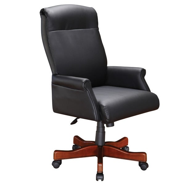 Roll Arm Executive Desk Chair with Black Leather